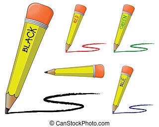 鉛筆, 黒, 有色人種