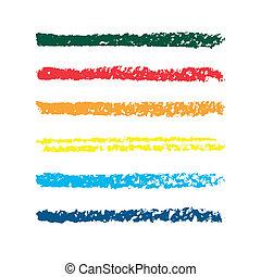 鉛筆, brushes., セット, 有色人種, strips., 抽象的, strokes., 手, ベクトル,...