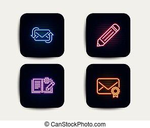 鉛筆, data., 実証された, 編集, 印。, ドキュメンテーション, 電子メール, icons., 工学, ベクトル, 新たにしなさい, メール, 新しい郵便, マニュアル