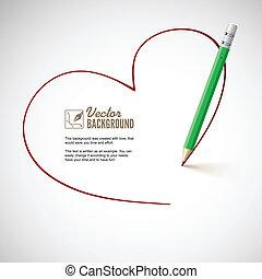 鉛筆, heart., 図画