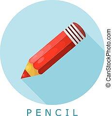 鉛筆, image., 平ら, 単純である, イラスト, ベクトル, style., アイコン