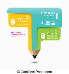 鉛筆, infographic, デザイン, 最小である, スタイル, テンプレート, /, 缶, ありなさい,...
