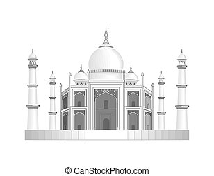 鉛筆, mahal, drawing., 插圖, 被風格化, india., 寺廟, taj