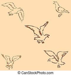 鉛筆, sketch., 数字, 型, 手。, カモメ, style., ベクトル, 図画