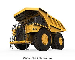 鉱山トラック, 隔離された, 黄色