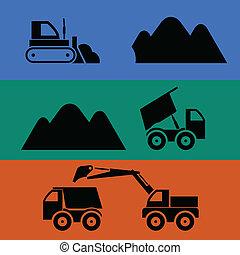 鉱山, そして, 交通機関, の, 砂