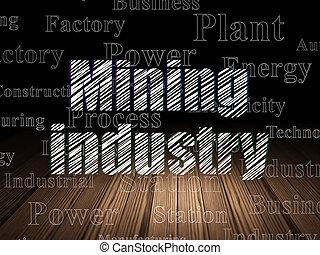 鉱山, グランジ, 部屋, 産業, manufacuring, 暗い, concept: