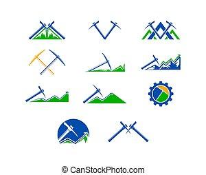 鉱山, セット, イラスト, ベクトル, デザイン, ロゴ, テンプレート