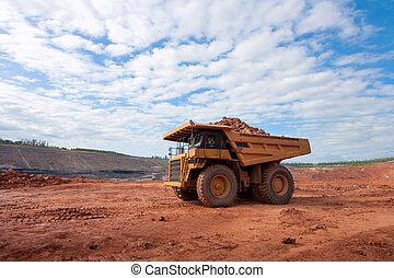 鉱山, 大きい, 仕事場, 黄色, トラック