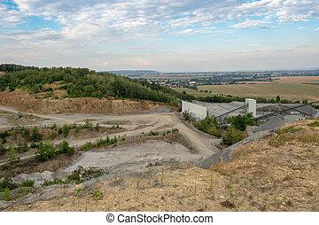 鉱山, 山, 花こう岩, 石, ベルト, 装置, ベルト, stones., 採石場, コンベヤー, サイロ, quarry., コンベヤー
