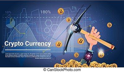 鉱山, 概念, お金, インターネット, bitcoin, 手, つるはし, 保有物, デジタル, crypto