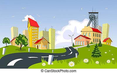 鉱山, 町