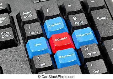 鉱物, 運動選手, 4, 黒, キーボード, 赤, 青