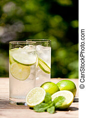 鉱物, 飲みなさい, 気分転換, 水, ソーダ, 新たに, 寒い, ミント, ライム
