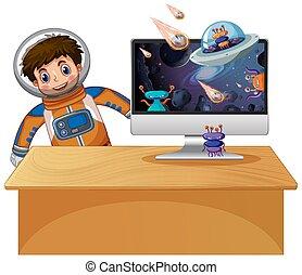 銀河, コンピュータ, 背景, スクリーン