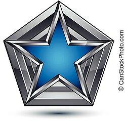 銀色, blazon, 由于, pentagonal, 藍的星, 罐頭, 是, 使用, 在, 网, 以及, 平面造型設計, 清楚, eps, 8, vector., heraldic, 銀, 符號, 3d, 外套, ......的, arms.
