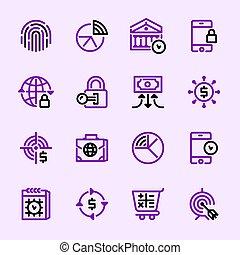 銀行業, アイコン, コレクション, 7, services.