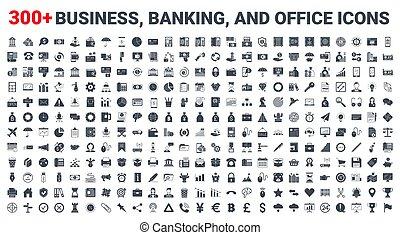 銀行業, アイコン, ベクトル, 金融, セット, ビジネス