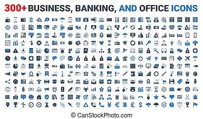 銀行業, ベクトル, 青, アイコン, 金融, セット, ビジネス