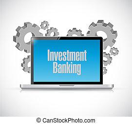 銀行業, ラップトップ, 概念, 投資, 印