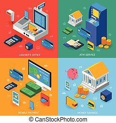 銀行業, 等大, 概念, 電子