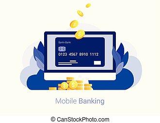 銀行業, concept., オンラインで, カード, クレジット
