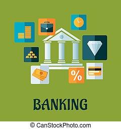 銀行業, infographic, デザイン, 平ら