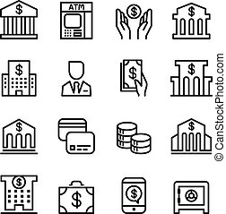 銀行, アイコン, セット, 中に, 薄いライン, スタイル