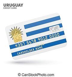 銀行, ウルグアイ, 隔離された, プレゼンテーション, business., クレジット, 旗, 背景, 白, カード