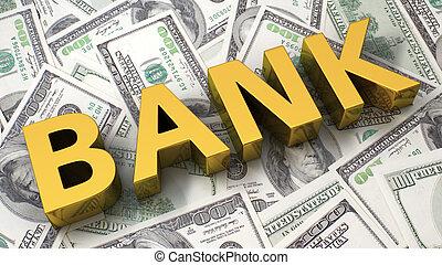 銀行, 上に, ∥, ドル, 背景