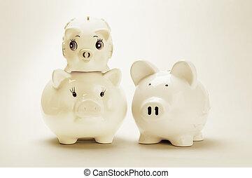 銀行, 小豚, 家族