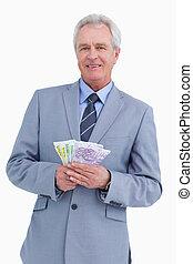 銀行, 成長した, 彼の, 手, メモ, 商人, 微笑