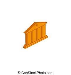 銀行, 等大, ベクトル, 白, アイコン, 背景