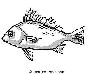 銀, オーストラリア人, 図画, レトロ, fish, 漫画, 投げ槍