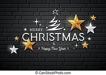 銀, ベクトル, 金, 陽気, メッセージ, クリスマス, デザイン, 星