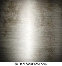 銀, 古い, ブラシをかけられた金属, 背景, 手ざわり