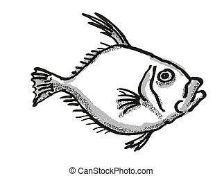 銀, 図画, dory, zealand, レトロ, fish, 新しい, 漫画