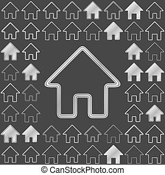 銀, 金屬, 家, 圖象, 設計, 集合
