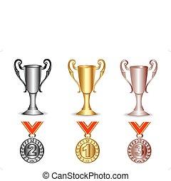 銀, 金, メダル, 銅, カップ