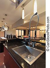 銀, 長方形, 洗滌槽, 在, 廚房