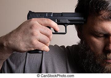 銃, それ, 下方に, 保有物, 彼の, 頭, 端, 人