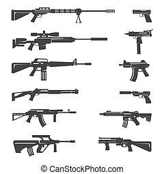 銃, ベクトル, アイコン, セット