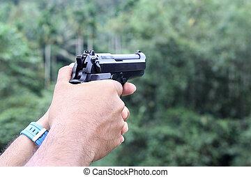 銃, 中に, 人, 手