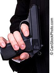 銃, 中に, man\'s, 手