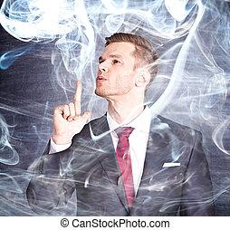 銃, 喫煙, 指, ビジネスマン