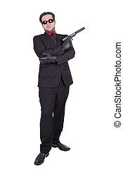 銃, 隔離された, バックグラウンド。, 保有物, 白, 人, ハンサム