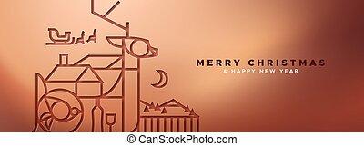 銅, アウトライン, 鹿, 旗, クリスマス, papercut