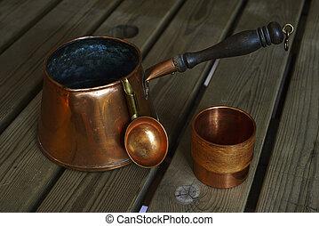 銅, コーヒー セット, 木製である, cookware, テーブル