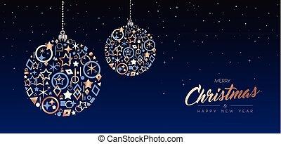銅, ボール, 網, 年, 新しい, 旗, クリスマス