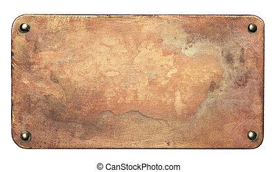 銅, 古い, 背景, プレート